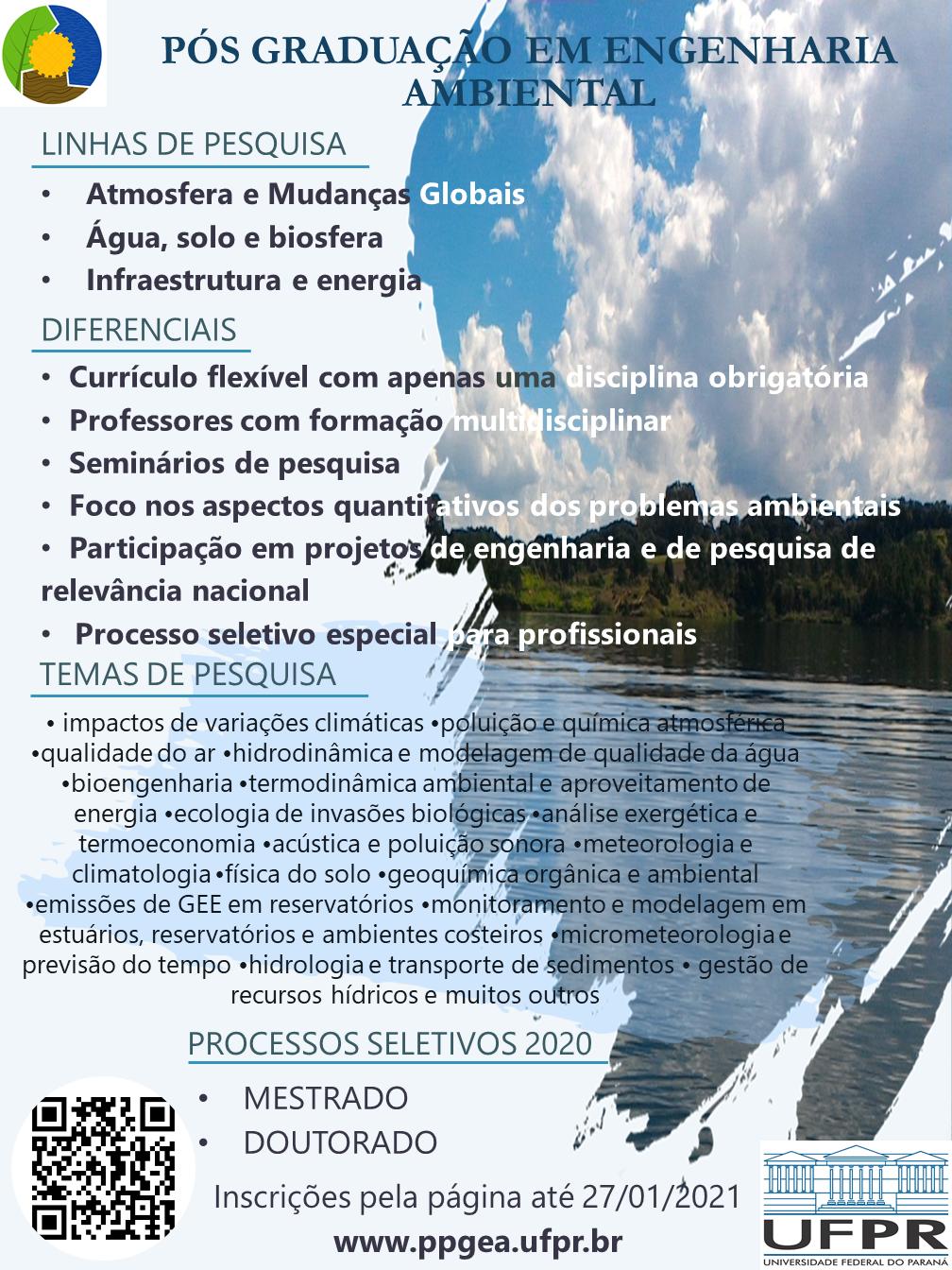Linhas de pesquisa mestrado e doutorado UFPR engenharia ambiental